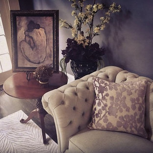 Inspiration for a mid-sized traditional enclosed living room in Atlanta with purple walls and dark hardwood floors.