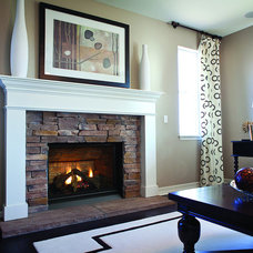 Traditional Living Room by Rustic Fire Place