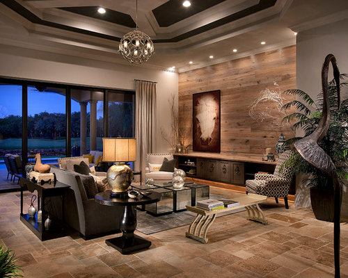large transitional formal travertine floor living room photo in miami with gray walls and no tv - Travertine Living Room Decor