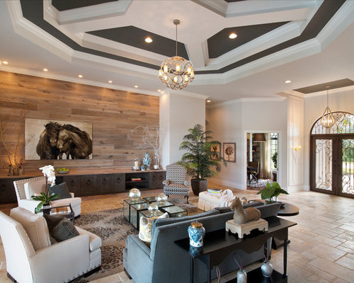 reclaimed wood feature wall design ideas  remodel pictures  houzz, Living room