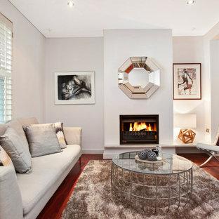 Diseño de salón abierto, minimalista, pequeño, con paredes blancas, suelo de madera en tonos medios, chimenea tradicional, marco de chimenea de metal y suelo marrón