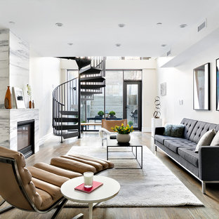 Diseño de salón abierto, contemporáneo, de tamaño medio, sin televisor, con chimenea tradicional, marco de chimenea de piedra y paredes beige