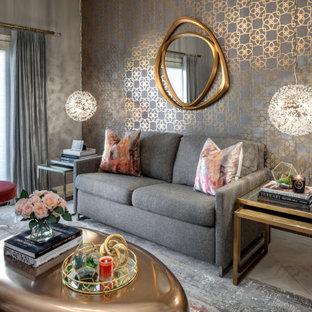 Aménagement d'un petit salon moderne fermé avec une salle de réception, un mur gris, un sol en carrelage de céramique, aucune cheminée, aucun téléviseur, un sol beige et du papier peint.