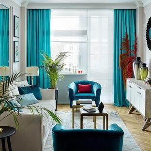 Пример оригинального дизайна: парадная, изолированная гостиная комната среднего размера в современном стиле с бежевыми стенами, светлым паркетным полом и бежевым полом