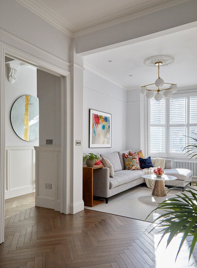 Transitional Living Room by Hampstead Design Hub