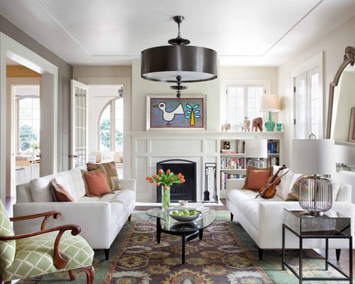 Example Of A Mid Sized Trendy Living Room Design In Austin With Library And