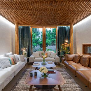 Foto de salón cerrado, de estilo zen, con paredes blancas y suelo beige