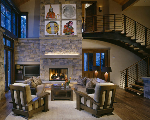 Elegant Open Concept Living Room Photo In Denver With A Standard Fireplace Stone