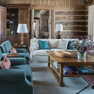 Inspiration for a rustic formal living room in Dallas with brown walls.