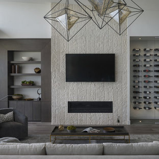 Example of a trendy medium tone wood floor and gray floor living room design in Boise with white walls, a ribbon fireplace and a wall-mounted tv