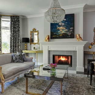 Living room - large eclectic formal and enclosed dark wood floor living room idea in Chicago with gray walls, a standard fireplace, a tile fireplace and no tv
