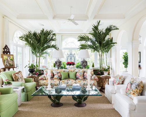 Inspiration For A Huge Tropical Living Room Remodel In Other With White  Walls