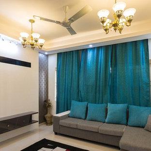 バンガロールのアジアンスタイルのおしゃれなリビングの写真