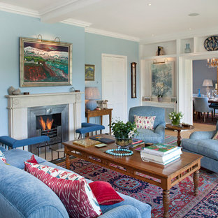 Living Room Traditional Light Wood Floor Idea In London With Blue Walls