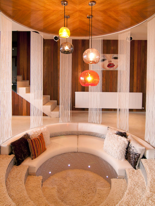 Trendy Formal Carpeted Living Room Photo In Melbourne