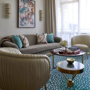 Cette photo montre un salon éclectique de taille moyenne et fermé avec une salle de réception, un mur blanc, moquette, un téléviseur dissimulé et un sol turquoise.