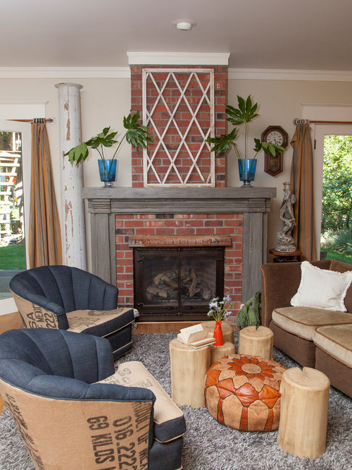 Eclectic Living Room Photo In Portland With Beige Walls, A Standard  Fireplace And A Brick