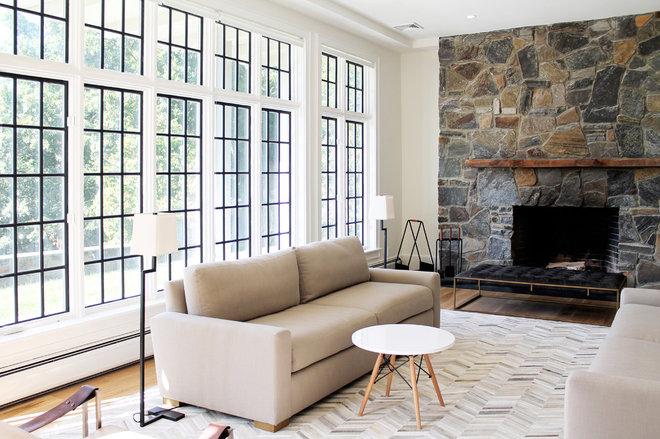 Farmhouse Living Room by Kristina Dousharm Architecture PLLC