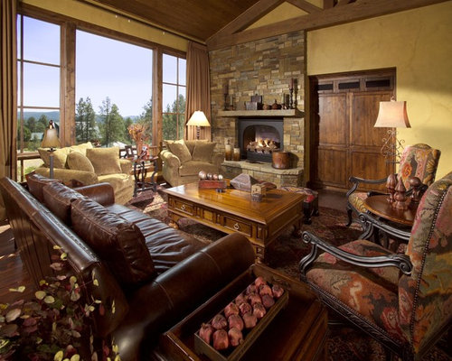 Huge Tuscan Formal Open Concept Living Room Photo In Phoenix With A Standard Fireplace