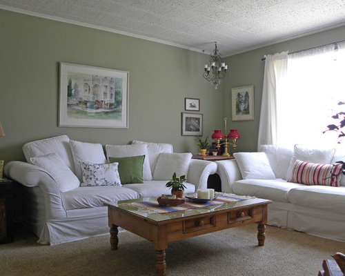 Sage green walls houzz Living room ideas with light green walls