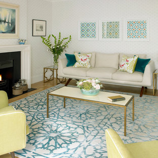 Great Trendy Enclosed Living Room Photo In London With A Standard Fireplace