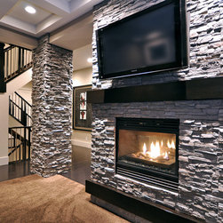 Modern Stone Fireplace Living Room Design Ideas Pictures