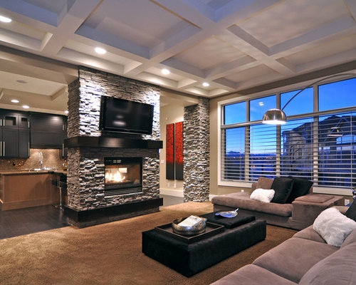 Modern Living Room With Tv And Fireplace stone fireplace and tv | houzz