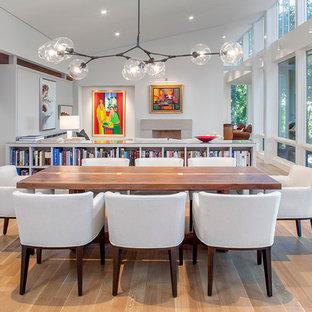 Foto de salón abierto, actual, con suelo de madera clara, chimenea tradicional, marco de chimenea de piedra, televisor retractable y paredes blancas