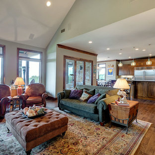 Photo of a mid-sized traditional enclosed living room in Dallas with multi-coloured walls, medium hardwood floors, a corner fireplace, a stone fireplace surround, a wall-mounted tv and brown floor.