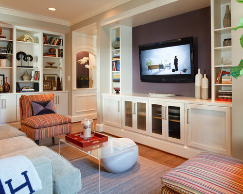 Transitional Living Room Photo In Indianapolis With Purple Walls And A Wall Mounted Tv