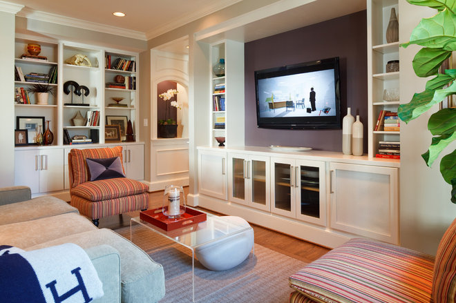 Transitional Living Room by Greenfield Cabinetry