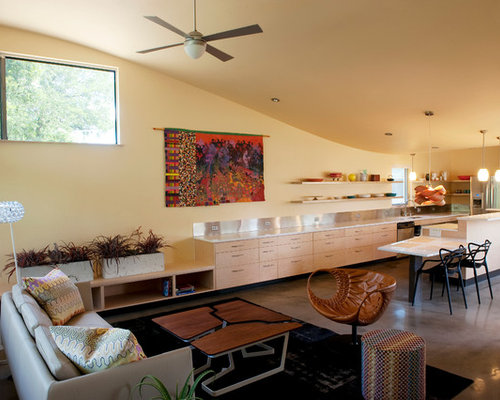 Example of a trendy formal open concept living room design in Austin with  concrete floors andUniversal Design Kitchen   Houzz. Universal Design Kitchen. Home Design Ideas
