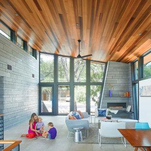 オースティンのミッドセンチュリースタイルのおしゃれなLDK (マルチカラーの壁、セラミックタイルの床、コーナー設置型暖炉、石材の暖炉まわり、グレーの床) の写真