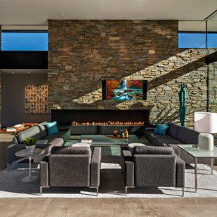 Esempio di un ampio soggiorno design aperto con sala formale, pareti multicolore, pavimento in cemento, camino ad angolo, cornice del camino in pietra, TV a parete e pavimento grigio