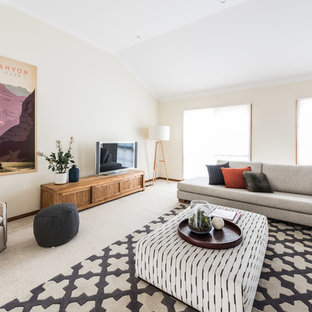 Design ideas for a contemporary living room in Melbourne with beige walls, carpet, no fireplace, a freestanding tv and beige floor.