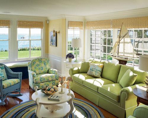 Beach Style Green Living Room Design Ideas Renovations