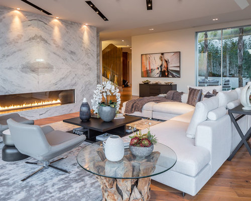 Inspiration For A Contemporary Medium Tone Wood Floor And Brown Floor  Living Room Remodel In Los