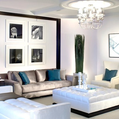 Example of a large trendy living room design in Miami with white walls