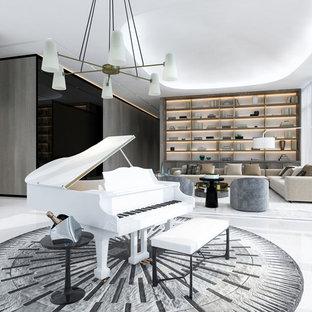 Salon moderne avec un sol en marbre : Photos et idées déco de salons
