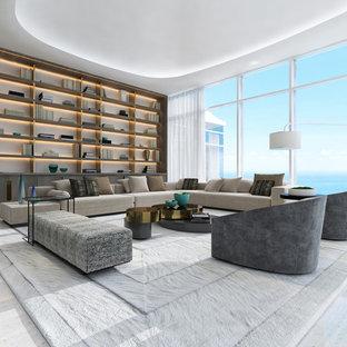 Diseño de salón para visitas abierto, minimalista, extra grande, con paredes grises, suelo de mármol, pared multimedia y suelo blanco