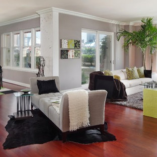 Example of a trendy living room design in Baltimore with gray walls