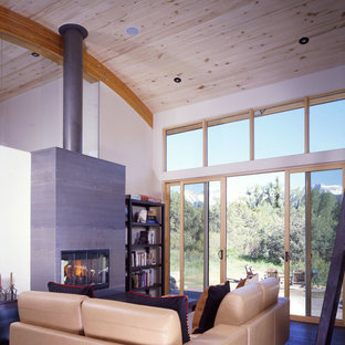 Example of a small trendy open concept medium tone wood floor and brown floor living room library design in Denver with white walls, a two-sided fireplace, a metal fireplace and no tv