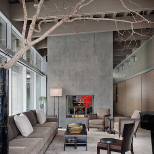 Design ideas for a contemporary formal open concept living room in Seattle with carpet, a two-sided fireplace, a concrete fireplace surround, no tv and grey walls.