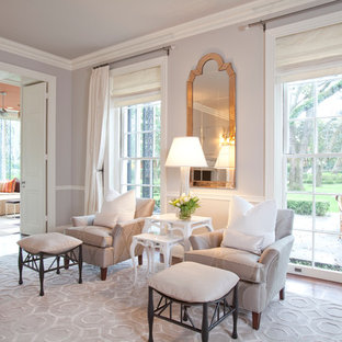 Transitional enclosed living room photo in Houston with gray walls