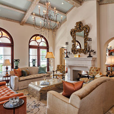 Mediterranean Family Room by Architectural Photographer Ron Rosenzweig