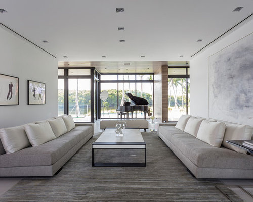 Example Of A Minimalist Open Concept Living Room Design In Miami With A  Music Area And Part 46