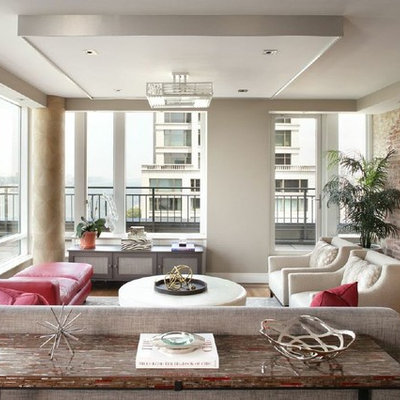 Mid-sized trendy formal and open concept light wood floor living room photo in New York with no fireplace and white walls