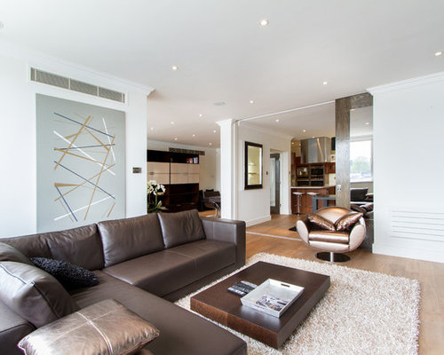 Attractive Minimalist Living Room Photo In London With White Walls