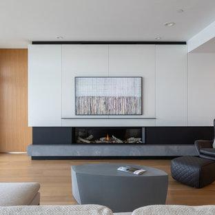 Inspiration pour un salon minimaliste de taille moyenne avec un mur blanc, un sol en bois clair, une cheminée ribbon, un manteau de cheminée en pierre et un téléviseur fixé au mur.