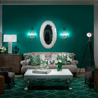 Inspiration for a contemporary living room in Las Vegas with green walls and carpet.